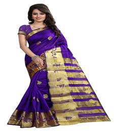 Buy purple Printed tissue saree with blouse tissue-saree online