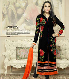Buy Black Georgette  Embroidered semi_stitched salwar with dupatta pakistani-salwar-kameez online
