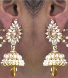 Buy Yellow Drop Jhumka With Pearl Ear Chain Earring jhumka online