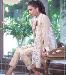 Buy beige embroidered  semi stitched salwar with dupatta pakistani-salwar-kameez online