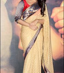 Buy Cream embroidered viscose saree with blouse sonakshi-sinha-saree online