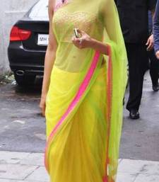Buy Yellow embroidered net saree with blouse deepika-padukone-saree online