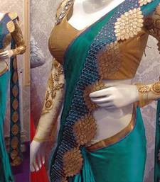 Buy Cyan embroidered art silk sarees saree with blouse art-silk-saree online