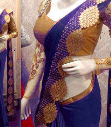 Buy Blue embroidered art silk sarees saree with blouse art-silk-saree online