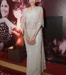 Buy White embroidered net saree with blouse sonam-kapoor-saree online