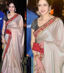 Buy Beige embroidered chiffon saree with blouse sridevi-saree online