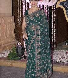 Buy Green embroidered net saree with blouse madhuri-dixit-saree online