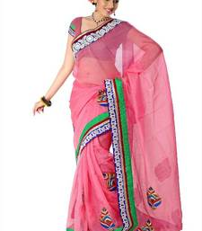 Pink net saree with unstitched blouse (arh1406) shop online
