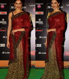 Buy Red embroidered georgette saree with blouse deepika-padukone-saree online