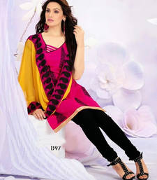 Buy New Pink And Black Salawar Kameez dress-material online