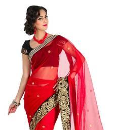Buy Red Banaras Net Saree net-saree online