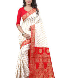 Buy White hand woven crepe saree with blouse crepe-saree online