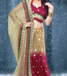 Buy Hypnotex Pink Brown Net Tissue Saree Jewel526 tissue-saree online