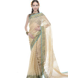 Buy Beige woven super net saree with blouse supernet-saree online