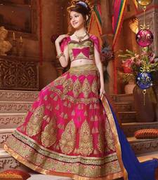 Buy pink embroidered Net kids lehenga choli kids-lehenga-choli online