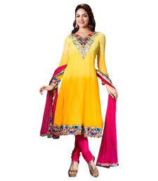 Buy Hypnotex Yellow Georgette Dress Materials party-wear-salwar-kameez online