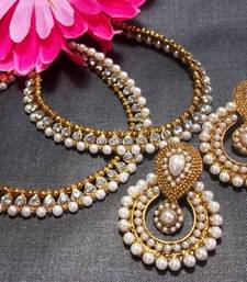 Buy White Pearl golden anklet and Pearl Polki Earrings stud online