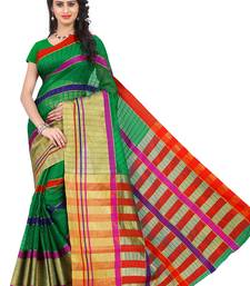Buy Green plain poly cotton saree with blouse cotton-saree online