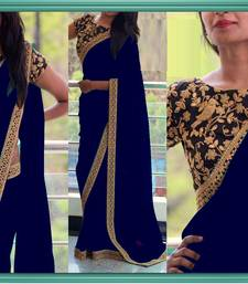 Buy Blue embroidered georgette saree with blouse wedding-gift online