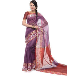 Buy Purple woven net saree with blouse supernet-saree online
