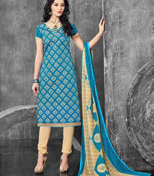 Buy Teal embroidered cotton salwar with dupatta salwars-and-churidar online