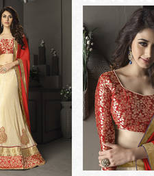 Buy Cream embroidered net unstitched lehenga lehenga-choli online