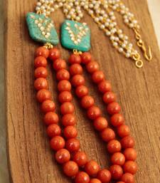 Buy Layered Orange Agate & Pearl Necklace necklace-set online