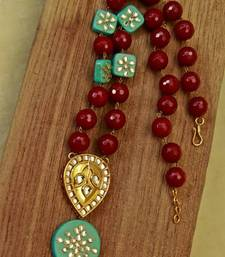Buy Cherry Red & Turquoise Agate Necklace necklace-set online