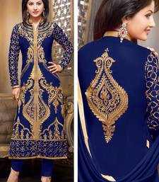 Buy Styles Closet Blue georgette embroidered semi_stitched salwar with dupatta black-friday-deal-sale online
