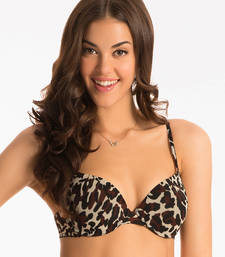 Buy brown black animal t shirt push up bra push-up-bra online