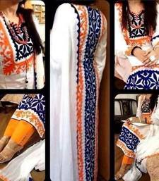 Buy White cotton embroidered unstitched salwar with dupatta salwar-kameez-below-2000 online