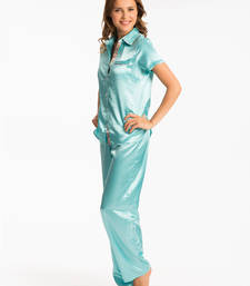 Buy PRETTYSECRETS AQUA BUTTON FRONT SHORT SLEEVE TOP & PJ SET nightwear online