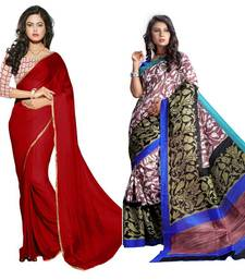 Buy Multicolor printed chiffon and bhaglapuri saree with blouse bridal-blouse online