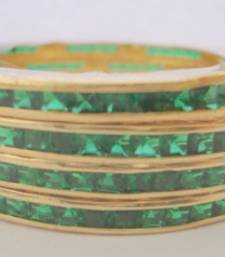 Buy SINGLE LINE STONE SETTED 4 PICS GREEN COLOUR ZERKON STONES BANGLES bangles-and-bracelet online, Buy bangles-and-bracelets online