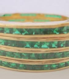 SINGLE LINE STONE SETTED 4 PICS GREEN COLOUR ZERKON STONES BANGLES shop online