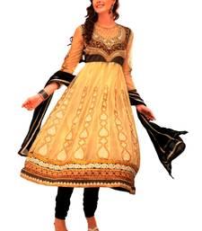Buy Libas-Beige and Golden Unstitched Anarkali Suit dress-material online