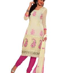 Buy Libas-Off White and Pink Unstitched Suit dress-material online