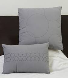 Buy Grey Suede finish Cotton embroidered Cushion cover set with Fillers gifts-for-mom online