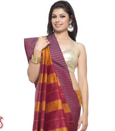 Buy Resham work border Golden Yellow Red Art Silk Saree gifts-for-mom online