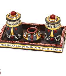 Buy Set of Three Terracotta Jars with hand painted Lids and Tray gifts-for-mom online
