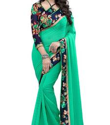 Buy green printed georgette saree with blouse below-500 online