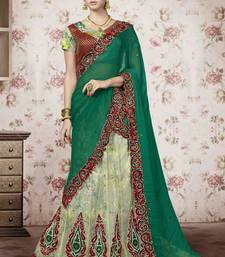 Buy Sea green embroidered net unstitched lehenga lehenga-choli online