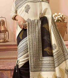 Buy Off white printed bhagalpuri silk saree with blouse silk-saree online