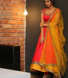 Buy Orange Georgette semi stitched salwar with dupatta anarkali-salwar-kameez online