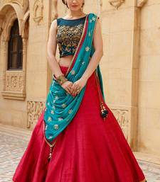 Buy red embroidered banglori silk unstitched punjabi-lehengas punjabi-lehenga online