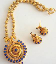 Buy BEAUTIFUL ANTIQUE BLUE HUGE PEACOCK PENDANT WITH EARRINGS Pendant online