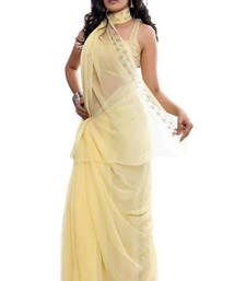 Buy FAVOLA Designer Sober Beige Crystallized Sari viscose-saree online
