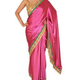 Buy Purple Satin saree with Kundan and Pearl work  satin-saree online