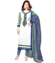 Buy White printed poly cotton salwar with dupatta dress-material online