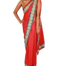 Buy Tomato Red Satin Velvet Saree with Pearl and Stone work Firozi border satin-saree online